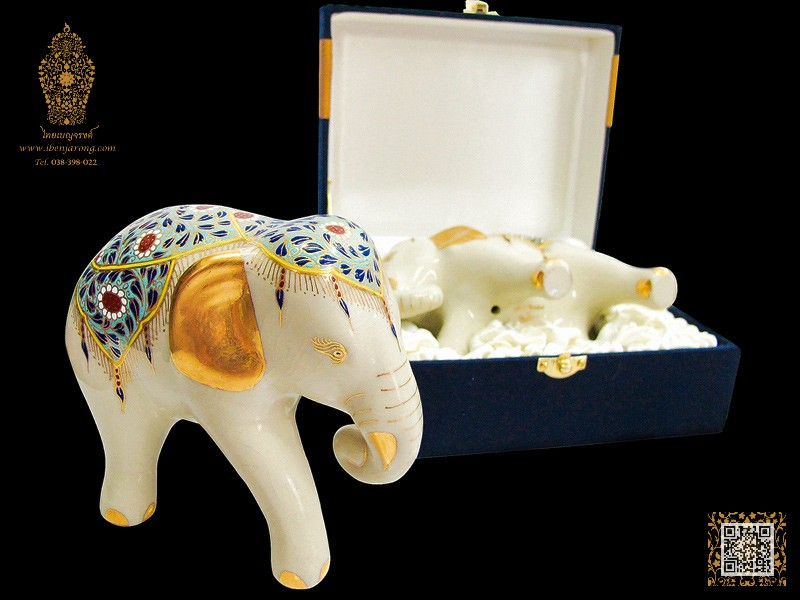 Cream Elephant Celadon with Jak-Kri pattern design on light blue color background