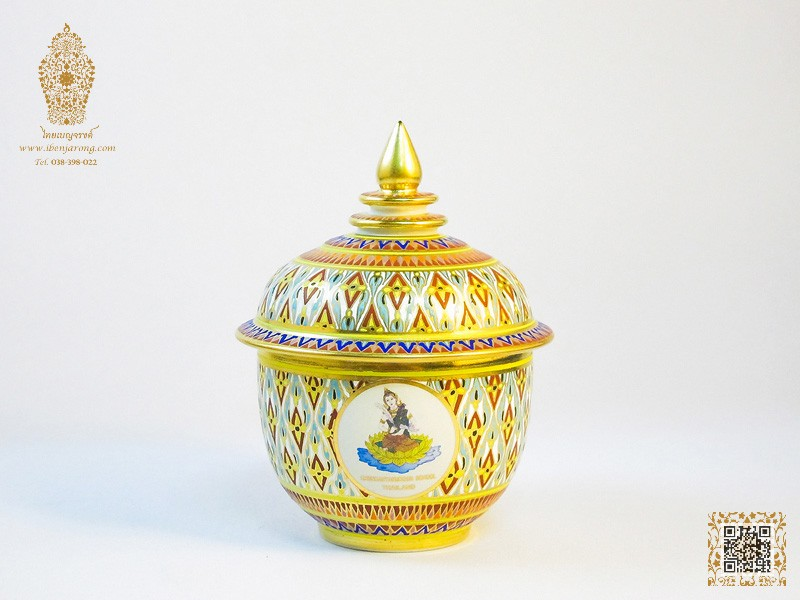 Bowl with cover Benjarong with Nha-Singha pattern design on white color background