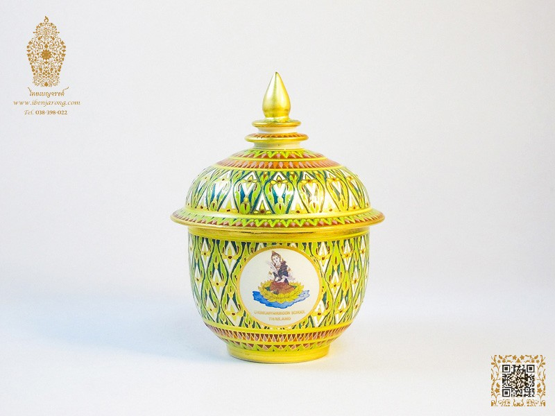Bowl with cover Benjarong with Nha-Singha pattern design on green color background