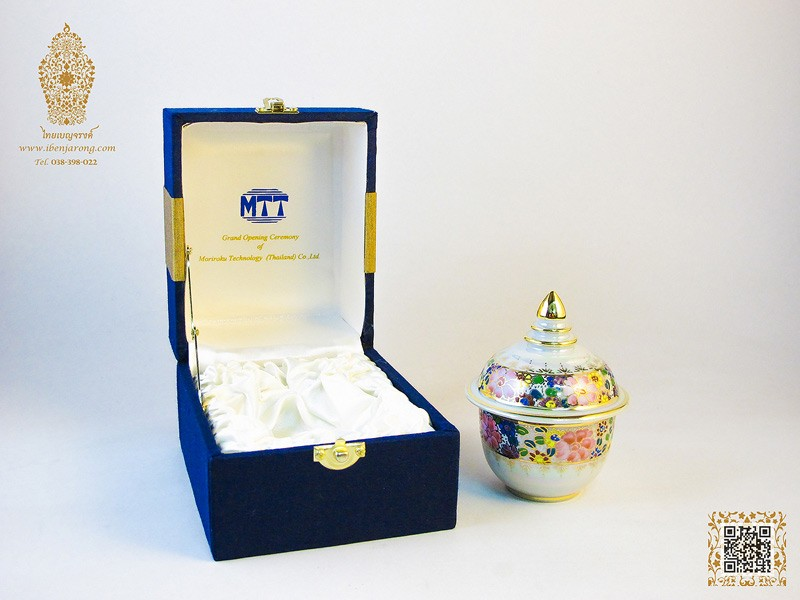 Styling of Pearl-White and Benjarong on bowl and cover with various flowers pattern design on a white color