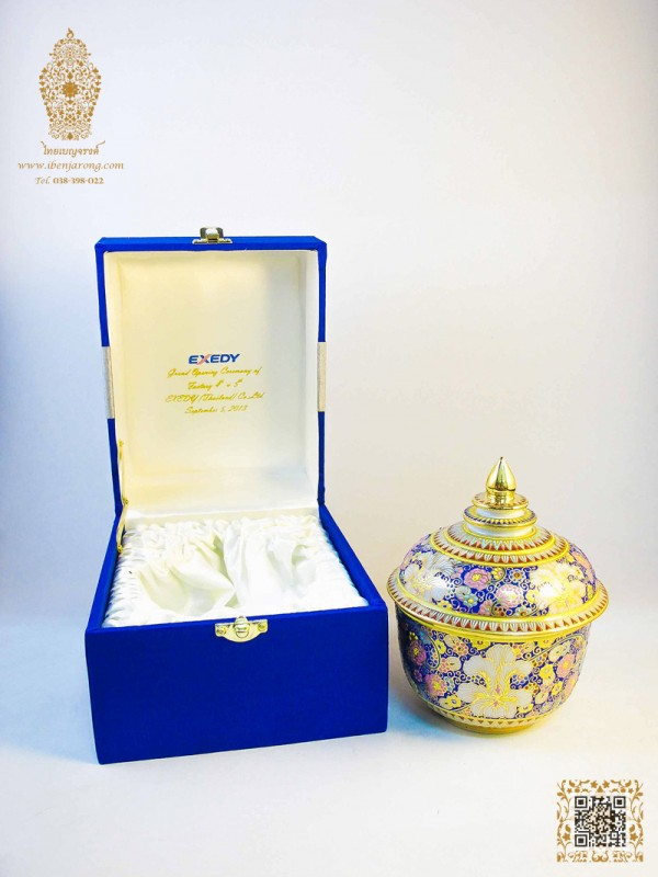 Bowl with cover Benjarong with ancient flowers pattern design on blue color background come together with silk box