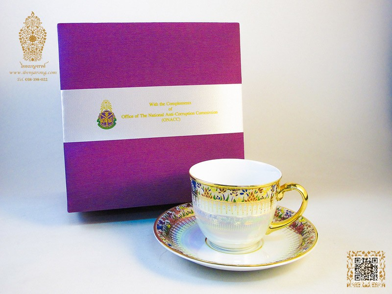 Coffee cup and saucer Pearl White-Benjarong technique with Lotus flowers pattern design on white color background